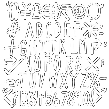 Outline Of Alphabets Numbers And Special Characters Hand Written