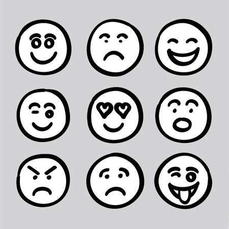 children face: hand drawn human face expressions icons collection set vector graphic. it composed of happy face, sad face, surprise face, worry face, satisfied face, funny face, naughty face, angry face, love face