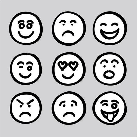 visage: tiré par la main expressions de visage humain icônes graphiques collection vector set. il composé de visage heureux, visage triste, le visage surprise, le visage de l'inquiétude, le visage satisfait, visage drôle, visage méchant, le visage en colère, amour visage