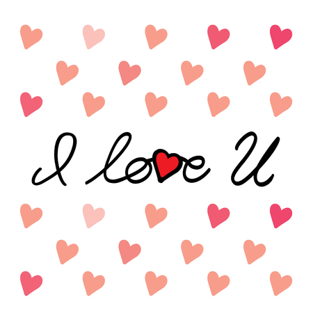 i love u: i love you message hand written vector graphic for valentines day. also represents love letter, love background, love message, love text, love image, love art, love card, lettering design, i love u Illustration