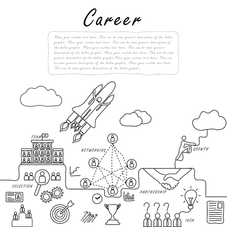 corporate ladder: hand drawn line vector doodle of concept of career growth, company and employees. also represents selecting candidates, promotion, climbing corporate ladder, networking, human resource & management Illustration