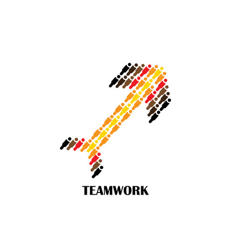 black yellow: group of people showing team and teamwork vector graphic icon as arrow on white