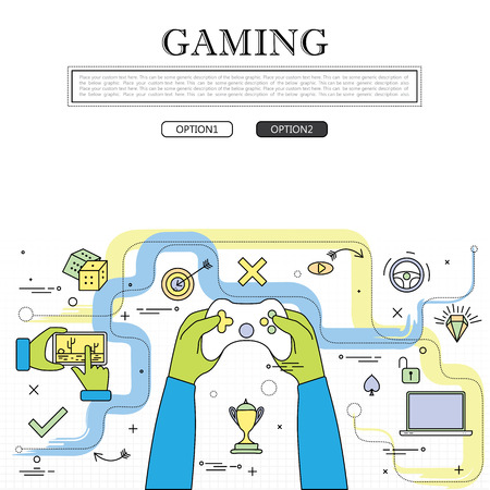 video gaming: line drawing of concept of gaming vector graphic. also represents online games, video games, etc to be used web banners and as printed materials Illustration