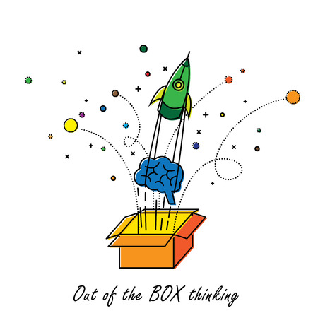 thinking out of the box: abstract out of box thinking - vector graphic