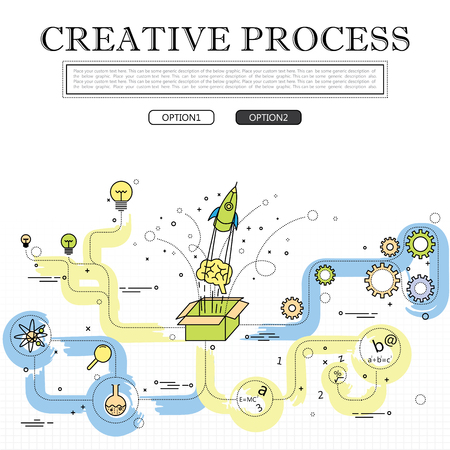 einstein: line drawing of concept of creative process vector graphic. also represents creativity, innovation, inventiveness, etc to be used web banners and as printed materials