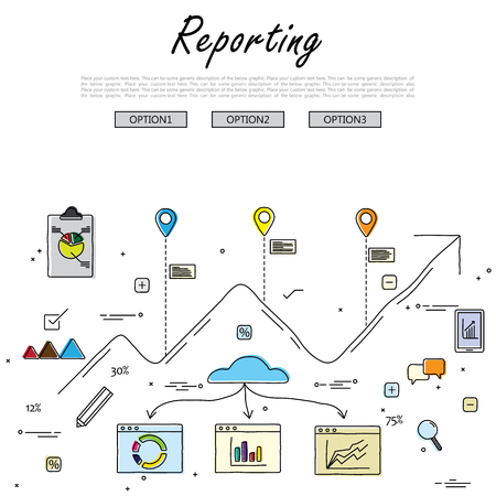 summary: hand drawn line vector doodle of concept of reporting and statistics. also represents business reporting, financial communication and investment, analytical reporting, data reporting, results summary