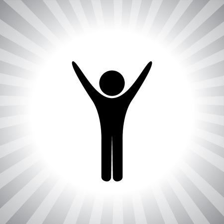 Person, die Yoga, Fitness und Bewegung Symbol - Konzept Vektor-Logo. Die Abbildung zeigt auch das Gesundheitsbewusstsein, ein gesundes Leben, ganzheitliche Gesundheitskonzept, eine alternative Therapie und Heilung