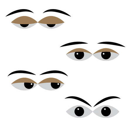 meditative: eye vector with different moods on a white background. different cartoon expression eyes. pleasant calm and relaxed eyes, angry and frustration eyes, worried and doubtful eyes, meditative eyes