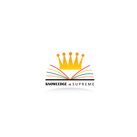 book logo: concept of knowledge as king using book and crown graphic icon on white Illustration