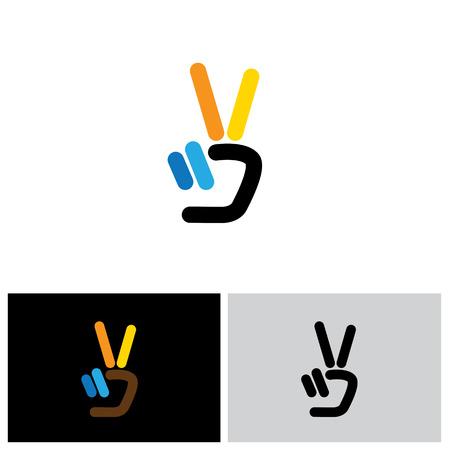 v de hand overwinning symbool vector logo icoon. dit pictogram kan ook de overwinning, winnaar, het winnen, succes, vooruitgang, triomf, vrede vertegenwoordigen