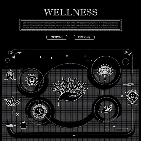 zen aum: line drawing of concept of wellness vector graphic in black and white. also represents concepts like yoga and meditation, spa and beauty care, leisure retreats, etc to be used web banners and as printed materials Illustration