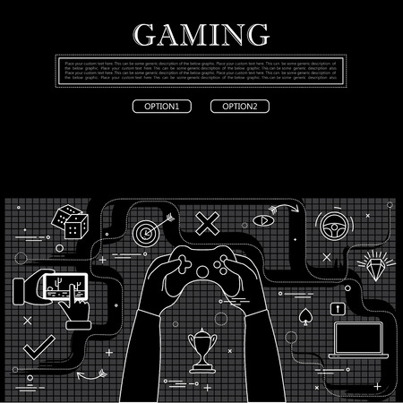 gaming: line drawing of concept of gaming vector graphic in black and white. also represents online games, video games, etc to be used web banners and as printed materials