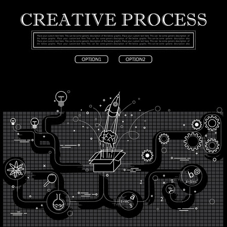 line drawing of concept of creative process vector graphic in black and white. also represents creativity, innovation, inventiveness, etc to be used web banners and as printed materials