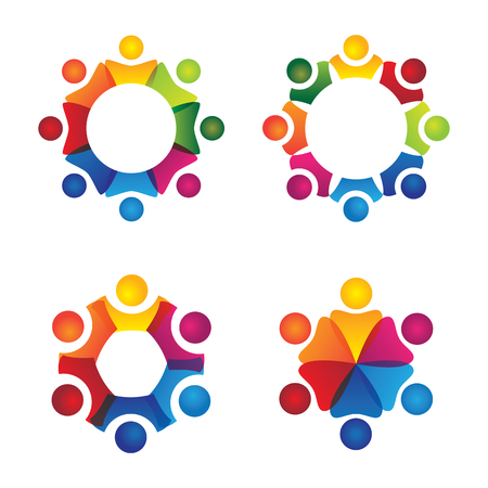 cooperating: vector logo icons of people together - sign of unity, partnership, leadership, community, engagement, interaction, teamwork, team, children, kids, employees, meeting, playing, fun time Illustration