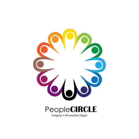 community group: people icons in circle - vector concept engagement, togetherness. this also represents social media community, leader & leadership, unity, friendship, play group, employees & meeting