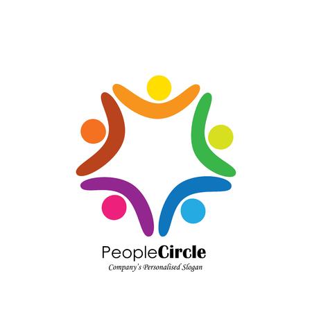 team en teamwork, enthousiast medewerkers, gemotiveerde mensen - vector icon. dit pictogram vertegenwoordigt ook vriendschap, samenwerking partnerschap, eenheid, opwinding, geluk, euforisch, gelukkig, blij, juichend Stock Illustratie