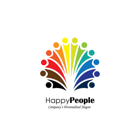 frenzy: lively happy excited people friends logo concept vector icon. this icon also represents friendship, partnership cooperation, unity, excitement, happiness, children playing, fun & frolic, entertainment Illustration