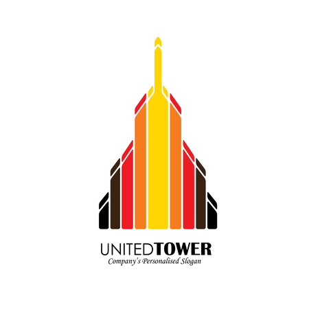 building structure: vector  icon of high-rise commercial building. also represents city skyscraper, tall office structure, modern architecture Illustration