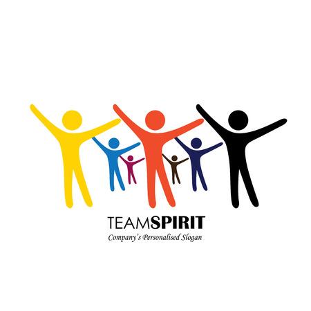 equipo y el trabajo en equipo, los empleados excitados, personas motivadas - icono vectorial. Este icono también representa la amistad, la cooperación de asociación, la unidad, el entusiasmo, la felicidad, eufórico, feliz, alegre, jubilosa
