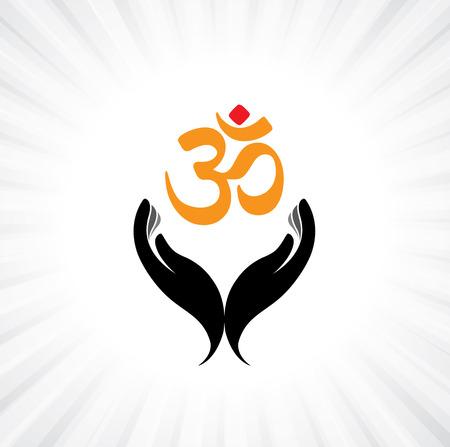 devout: praying persons hand and om symbol - concept of a devout hindu worshiping or meditating shiva, vishnu or other indian god Illustration