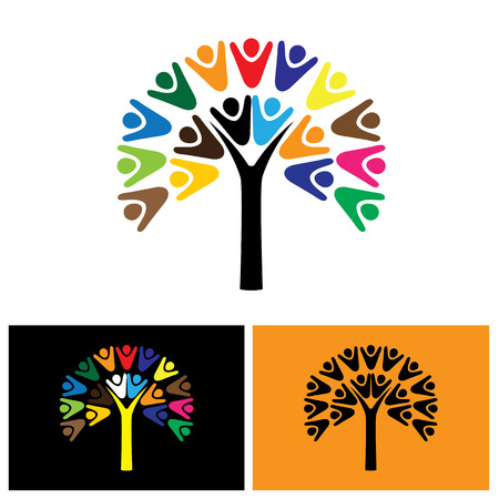 team cooperation: vector  icon of tree with people. this can also represent teamwork, cooperation, togetherness, team, organization, employees, children