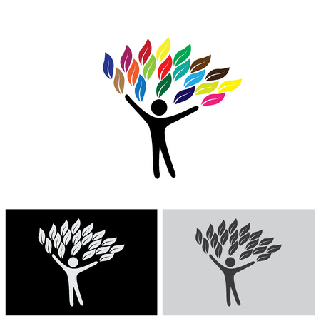 friendly people: people tree  with colorful leaves, eco concept vector. this graphic also represents environmental protection, nature conservation, eco friendly, sustainability, balance, peace, harmony