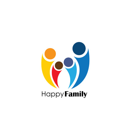 vector  icon of family of four people. also represents unity and integrity, alliance, cooperation, united people Illustration