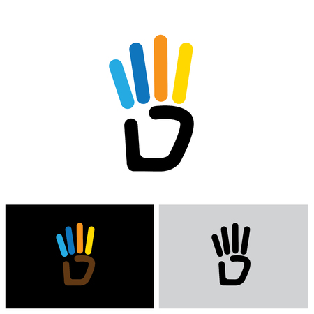 human touch: line hand symbol for number 4 vector  icon
