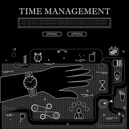 lijntekening: lijntekening van concept van de time management vector afbeelding in zwart-wit. vertegenwoordigt ook begrippen als organisatie, etc te gebruiken web-banners en als gedrukte materialen