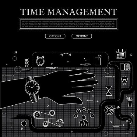 busy person: line drawing of concept of time management vector graphic in black and white. also represents concepts like organization, etc to be used web banners and as printed materials Illustration