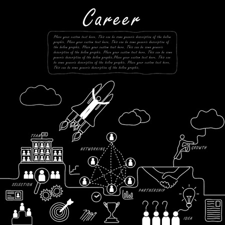 corporate ladder: hand drawn line vector doodle concept of career growth, company and employees in black white. also represents selecting candidates, promotion, corporate ladder, networking, human resource management