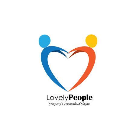 juntos: vector icono del logotipo de dos personas en el amor que forman el símbolo del corazón. También representa la relación romántica, par amante, pareja en el amor, que salta en alegría, la gente feliz