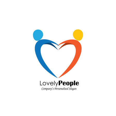 symbol people: vector logo icon of two people in love forming heart symbol. also represents romantic relationship, lover pair, couple in love, jumping in joy, happy people