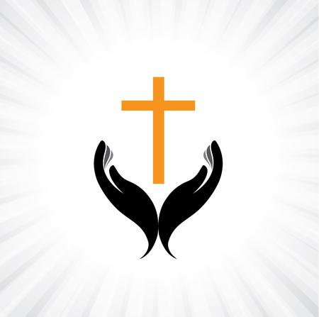 Persoon bidden met kruis in de hand - concept van een vroom christen het aanbidden van Christus