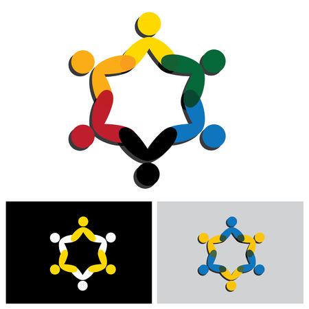 círculo de la amistad, la cooperación, icono del vector del concepto de trabajo en equipo. Esto también representa las actividades de diversión, compartir, celebración, estar juntos, la unidad y la solidaridad, felices y alegres Ilustración de vector