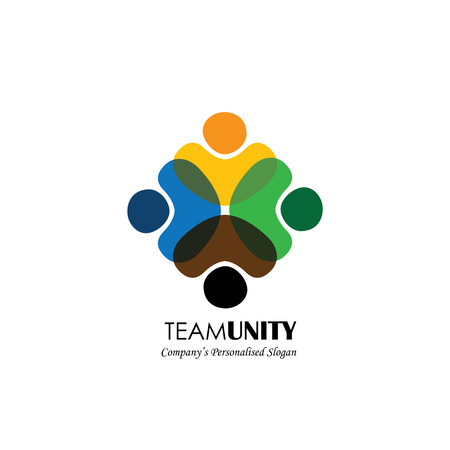 fraternidad: icono del vector de la gente - signo de unidad, colaboración. Esto también representa la diversidad, la comunidad, la participación, la interacción, el trabajo en equipo, equipo, niños, empleados