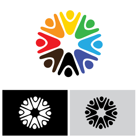 people having fun: vector logo icon of children playing together. also represents people having fun, jubilation, team and teamwork, community people Illustration