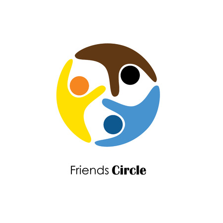 friendship circle: vector logo icon of people in circle. also represents dependency, cooperation, respect for each other, care and empathy, etc Illustration