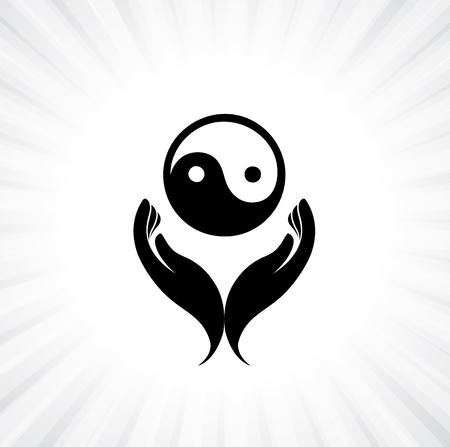 사람의 손에 음과 양 기호기도 - 독실한 불교 예배의 개념을
