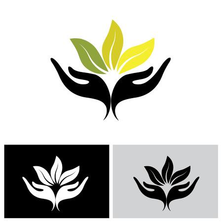 concept de bien-être, protection de la nature - illustration vectorielle. représente également des concepts tels que la protection de l'environnement, les stations thermales, etc.