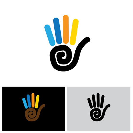 hi five: stop hand sign vector  line icon. this also represents greetings like hi, hello, waving hand at others, showing number 5, asking to wait, kids coloring hands Illustration