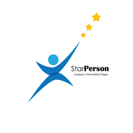 high performance: vector logo icon of person aiming for stars. also represents aiming high, reaching stars, winning performance, trying hard, success