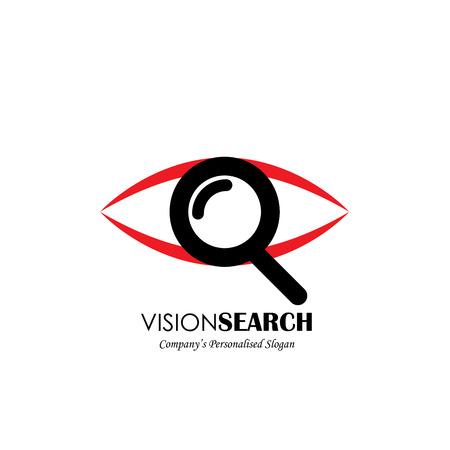 vector icono del logotipo de los ojos y de búsqueda de símbolos. También representa profunda observación, escrutinio, percibir, agente secreto, espía, detective, detective