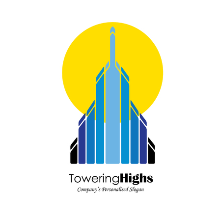 building structure: vector logo icon of high-rise commercial building and sun. also represents city skyscraper, tall office structure, modern architecture, sunrise and sunset Illustration
