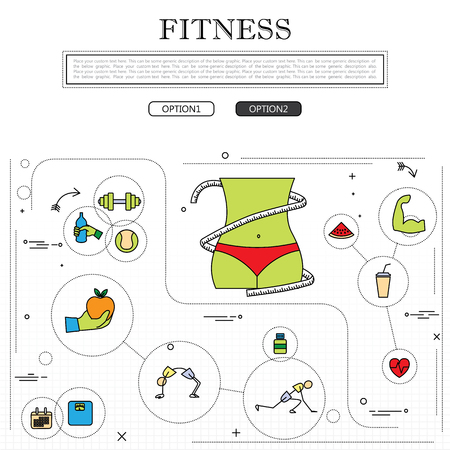 fitness training: fitness concept of fitness training, wellness in outline style. illustration with exercise and yoga icons and fitness training design elements. weight training, gym workout, heart health concepts Illustration