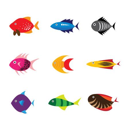 saltwater fish: Fish icon, fish icon eps 10, fish icon vector, fish icon flat design, colorful sea fish icon, fresh water fish icon, aquarium fish icon, tropical fish icon, pet fish icon, saltwater fish icon Illustration