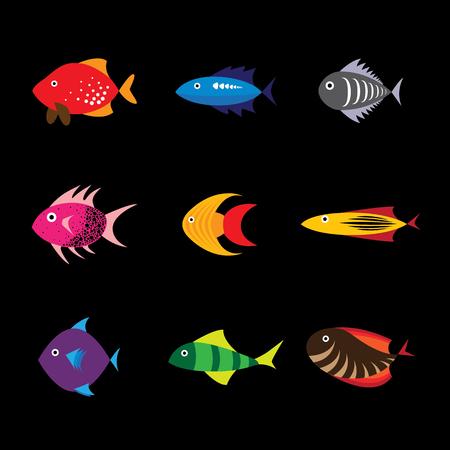 tropical fresh water fish: Fish icon, fish icon eps 10, fish icon vector, fish icon flat design, colorful sea fish icon, fresh water fish icon, aquarium fish icon, tropical fish icon, pet fish icon, saltwater fish icon Illustration