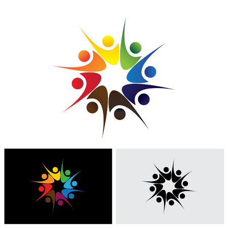happy employees: concept of happy employees or friends sharing joy & happiness vector icon. This also represents excited people, people dancing, school children or kids playing, colorful employees in circle