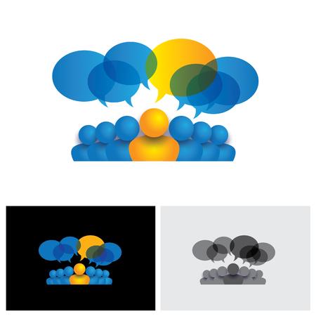 cooperativismo: líder y concepto de la dirección o el gerente y material de oficina icono vector de personal. Esto también representa conferencia de la gente, la interacción social media y compromiso, los niños hablando, discusiones de los empleados