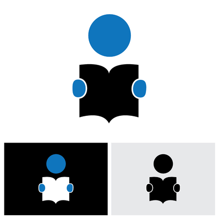 student reading a book vector icon with his hands holding the booklet. The graphic can represent concepts like students reading, children learning, enhancing knowledge